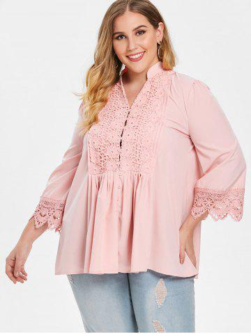 Plus Size Flower Crochet Pleated Blouse