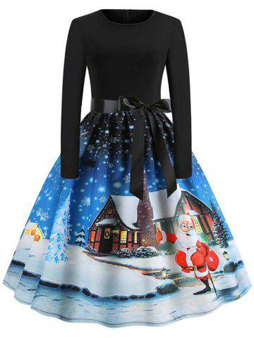 Long Sleeve Christmas Santa Print Dress