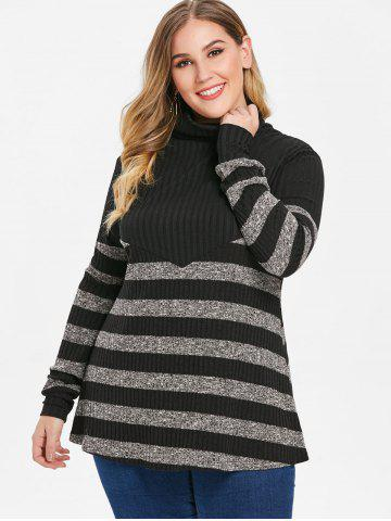 Plus Size Turtleneck Stripe Sweater