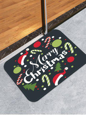Merry Christmas Tree Candy Cane Printed Floor Mat - DARK FOREST GREEN - W24 X L35.5 INCH