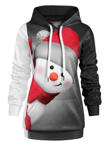 Plus Size Christmas Snowman Hoodie with Pocket