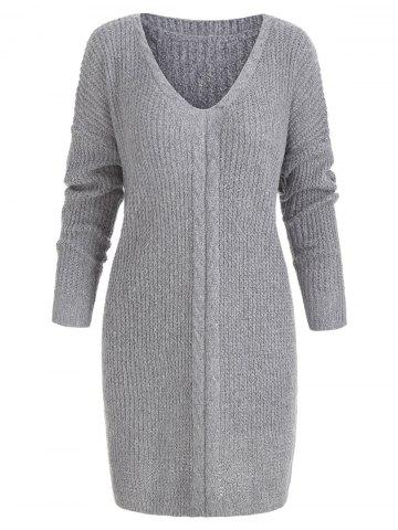 Cable Knit Side Slit Tunic Sweater