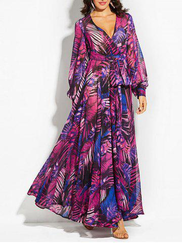 Bohemian Plunging Neckline Tropical Print Maxi Dress