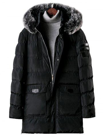 Detachable Fur Hooded Zip Fly Padded Coat