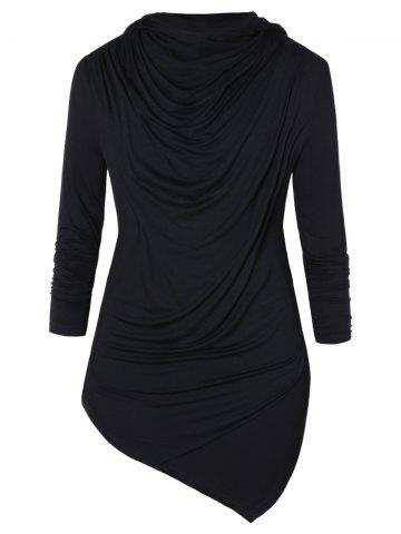 Asymmetric Pile Heap Collar Long Sleeve T-shirt