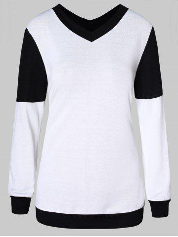 V Neck Two Tone Pullover Sweater - MILK WHITE - XL