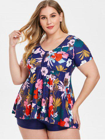 Plus Size Short Sleeve Floral Print Tankini Set