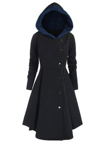 Plus Size Contrast Asymmetric Hooded Skirted Trench Coat - MIDNIGHT BLUE - 1X