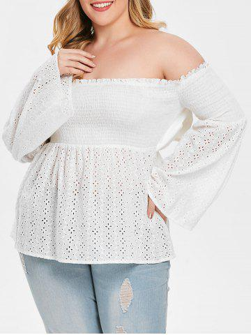 Plus Size Off Shoulder Bell Sleeve Bowknot Smocked Blouse - WHITE - L