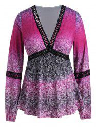 Plus Size Paisley Plunging Peplum Top with Lace -
