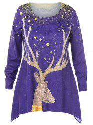 Christmas Plus Size Elk Print Asymmetrical T-shirt -