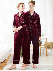 Letters Embroidered Velvet Matching Couple Pajamas -