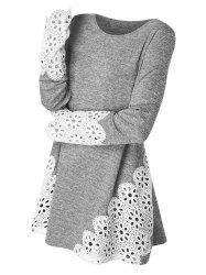 Lace Panel Long Sleeve Top -