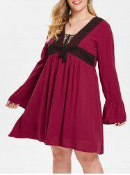 Plus Size Lace Up Two Tone Plunging Dress -