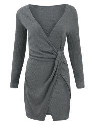 Wrap Long Sleeve Knotted Dress -