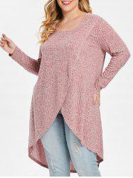 Plus Size High Low Space Dyed Knitwear -