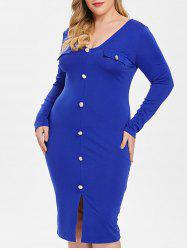 Plus Size Front Split Buttons Embellished Bodycon Dress -