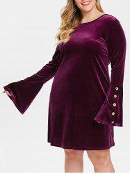 Plus Size Flare Sleeves Velvet Dress with Buttons -