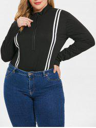 Striped Panel Plus Size Half Zip Bodysuit -