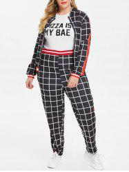 Gingham Print Plus Size Long Sleeve Two Piece Suit -