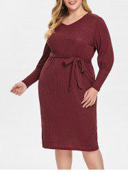 Plus Size Puff Sleeve V Neck Dress -