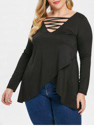 Criss Cross Plus Size Front Slit T-shirt -