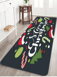 Merry Christmas Tree Candy Cane Printed Floor Mat -
