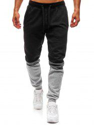 Long Drawstring Elastic Panel Jogger Pants -