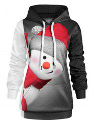 Plus Size Christmas Snowman Hoodie with Pocket -
