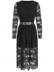 Belted Long Sleeve Lace A Line Dress -