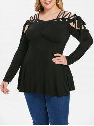 Plus Size Lace Up Empire Waist Tee -