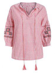 Tied Embroidery Stripe Plus Size Blouse -
