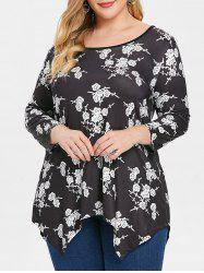 Plus Size Floral Three Quarter Sleeve High Low T-shirt -