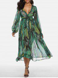 Bohemian Plunging Neckline Tropical Print Maxi Dress -