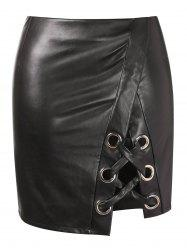Criss Cross Plus Size Faux Leather Skirt -