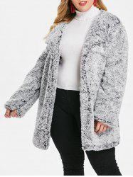 Plus Size Fluffy Turn Down Collar  Coat -