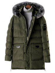 Detachable Fur Hooded Zip Fly Padded Coat -
