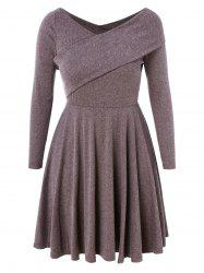 Plus Size V Neck Skater Dress -