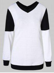 V Neck Two Tone Pullover Sweater -