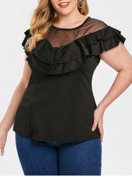 Layered Ruffle Plus Size Round Neck T-shirt -