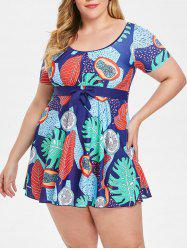 Empire Waist Plus Size  Printed Swimwear -