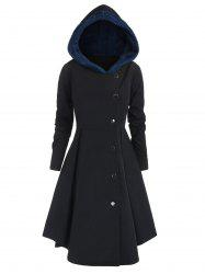 Plus Size Contrast Asymmetric Hooded Skirted Trench Coat -