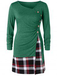 Plus Size Buttons Plaid Long Tunic T-shirt -