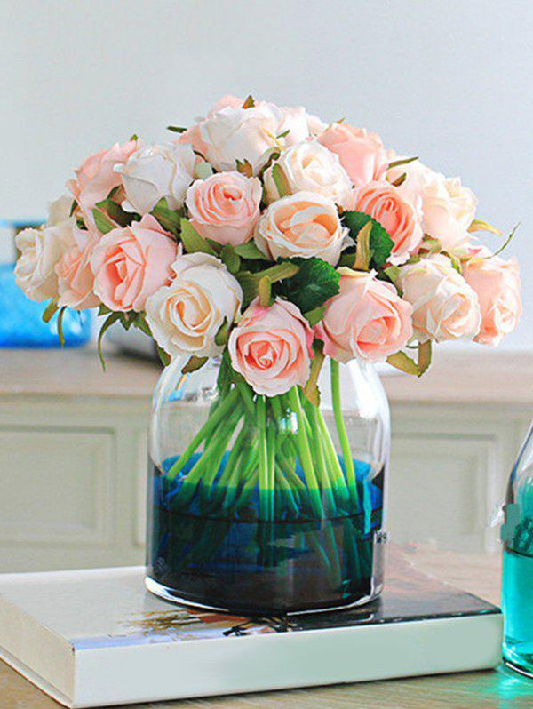 Hot 12 Heads Color Block Artificial Rose Flowers