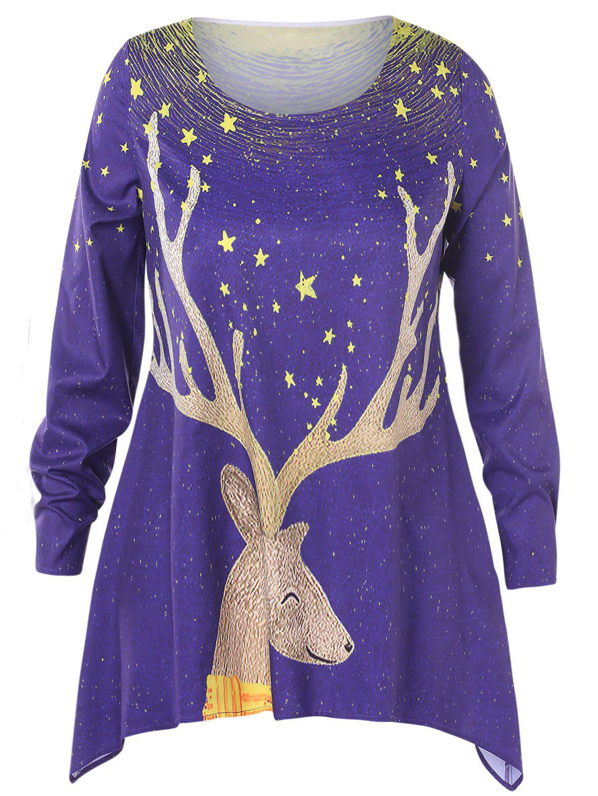 Trendy Christmas Plus Size Elk Print Asymmetrical T-shirt