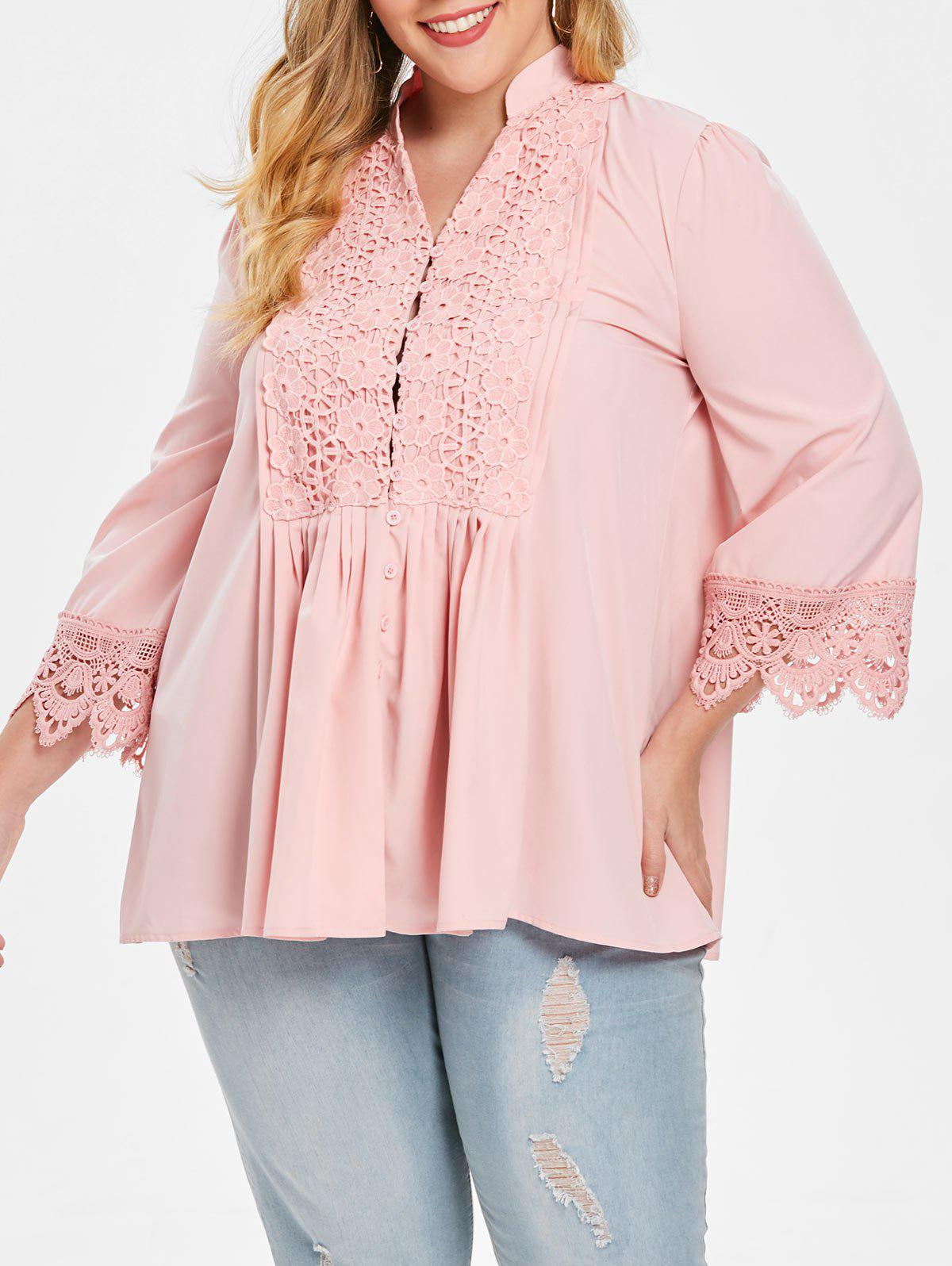 Fashion Plus Size Flower Crochet Pleated Blouse