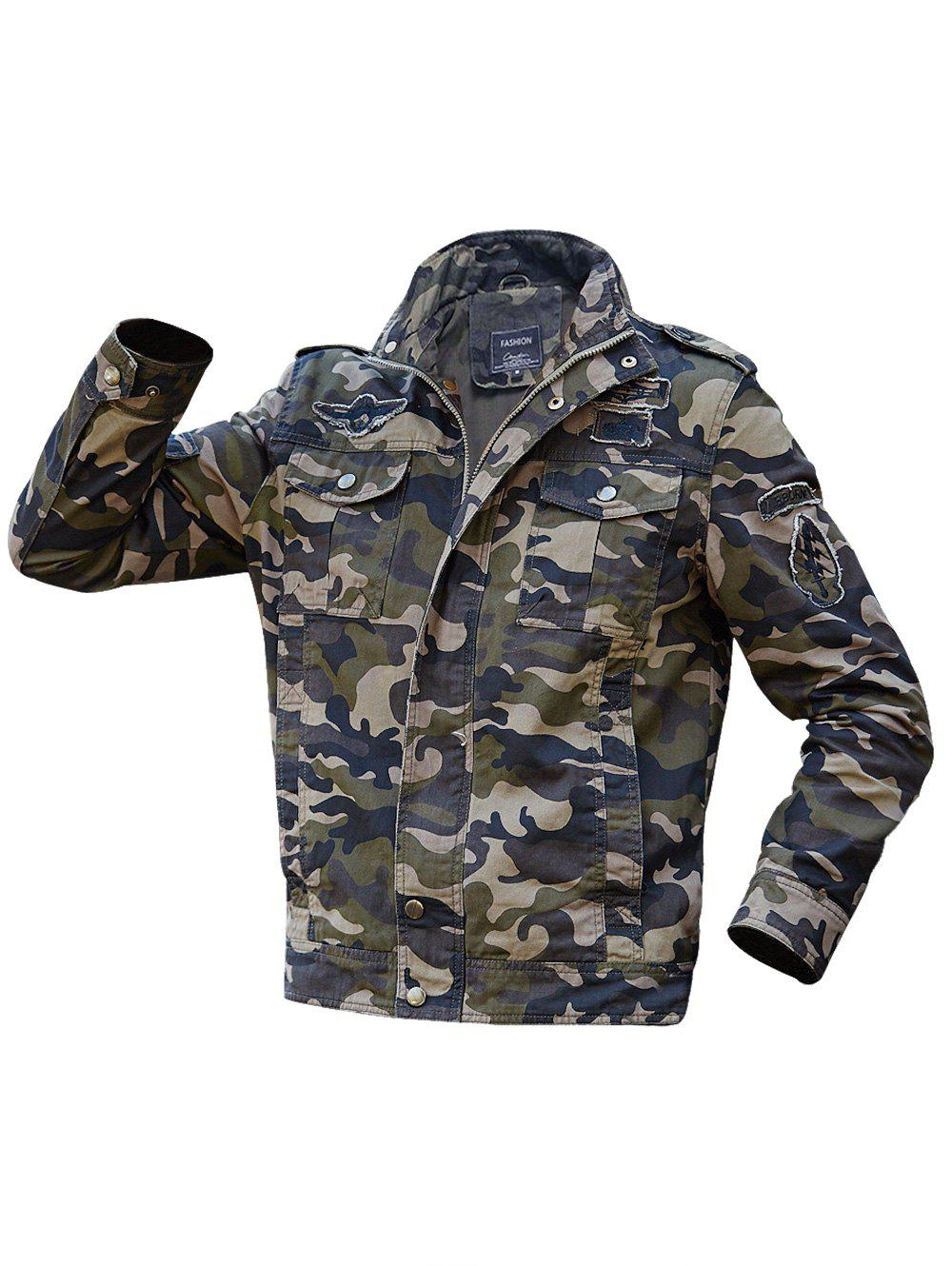 Cheap Appliques Camouflage Printed Jacket