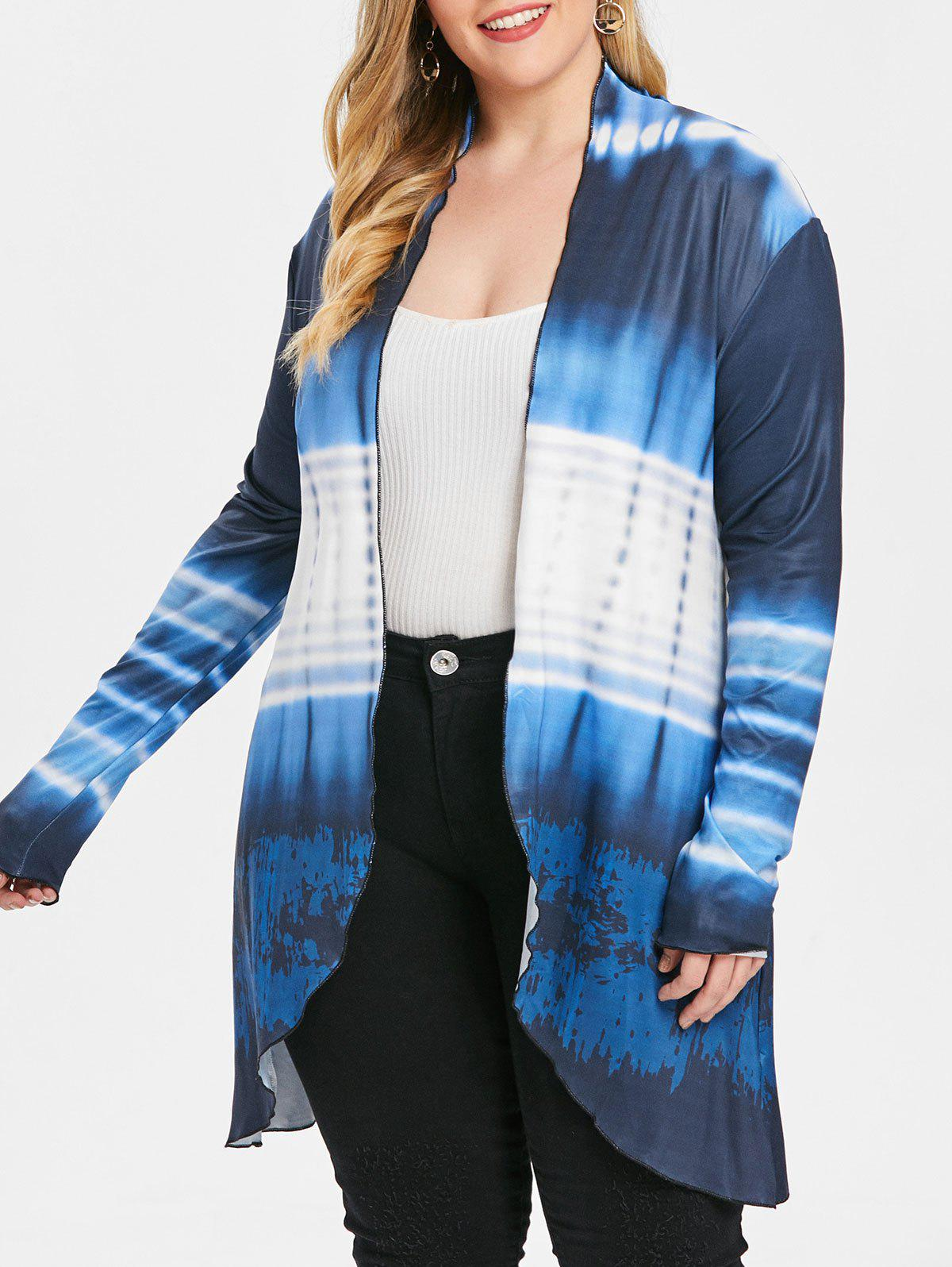 Affordable Ombre Plus Size Collarless Coat