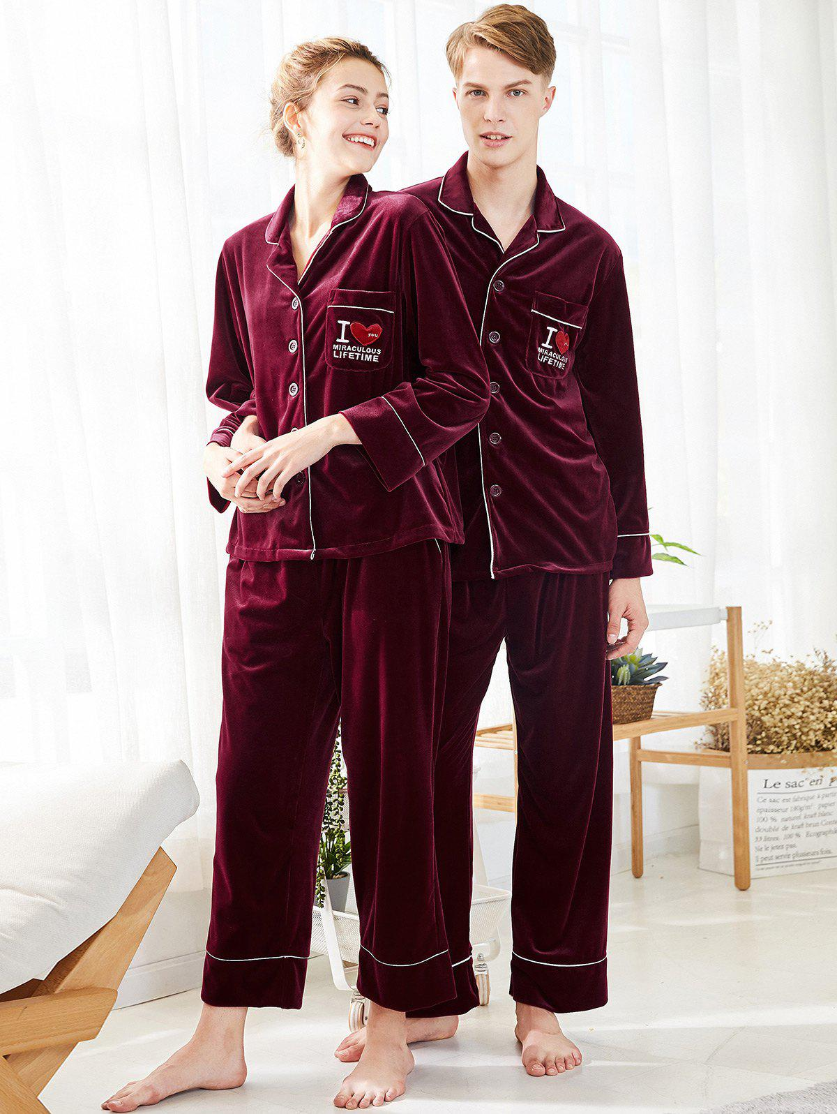Unique Letters Embroidered Velvet Matching Couple Pajamas