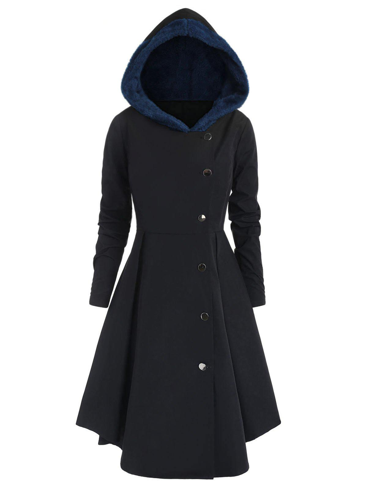 Sale Plus Size Contrast Asymmetric Fleece Hooded Skirted Coat